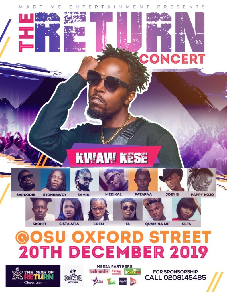 Kwaw Kese's Return Concert Will Shut Down Oxford Street